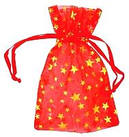 RO33RG: Red organza pouch with Gold Stars 2.75 x 3