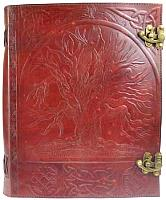 Tree leather blank book with latch 10 x 13