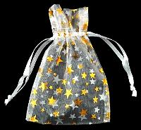 RO33WG: White organza pouch with Gold Stars 2.75 x 3