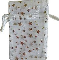 RO33WS: White organza pouch with Silver Stars 2.75 x 3